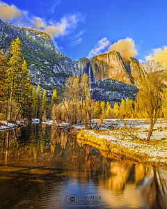 """Valley Reflections,"" Golden Hour at Sunset over the Merced River and Yosemite Falls, Yosemite Valley, Yosemite National Park, California"