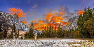 """Pristine,"" Sunset and Moonset over Yosemite Valley with a light blanket of snow, Yosemite National Park, California"