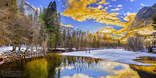 """""""Muir Reflection,"""" Snow at sunset along the Merced River as fog rolls in, Yosemite Valley, Yosemite National Park"""