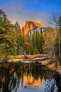 """Glass,"" Half Dome Sunset on the Merced River, Yosemite Valley, Yosemite National Park"
