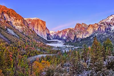 """Whispering Dream,"" Dusk over El Capitan, Half Dome, Cathedral Rocks and Bridalveil Fall, Yosemite Valley, Yosemite National Park"
