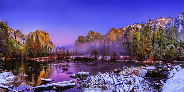 """Enchantment,"" Mist and Alpenglow in Yosemite Valley, Yosemite Valley, Yosemite National Park, California"