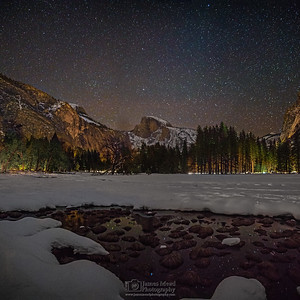 """Imagination,"" Night sky over Half Dome and snow covered Yosemite Valley, Yosemite National Park, California"