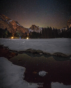 """Mesmerized,"" Night sky over Half Dome and snow covered Yosemite Valley, Yosemite National Park, California"