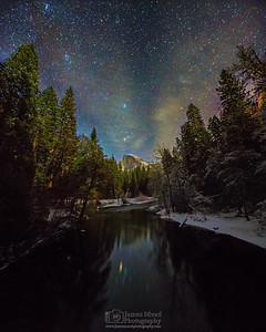"""Muir's Window,"" Winter Half Dome Reflections at Night, Yosemite Valley, Yosemite National Park"