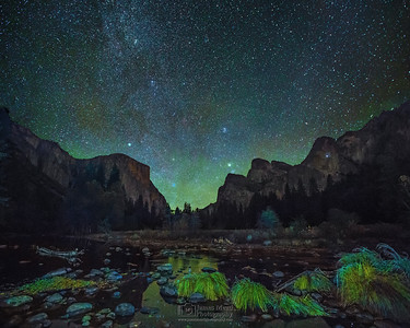 """Heaven's Nightlight,"" Airglow and the winter Milky Way over Yosemite Valley and the Merced River, Yosemite National Park, California"