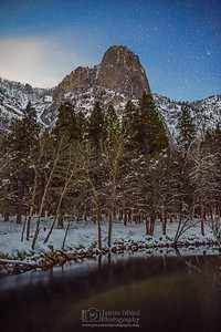 """Winter's Guard,"" Sentinel Rock and the Merced River at night, Yosemite National Park, California"