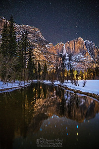 """Muir's Dream,"" The night sky over Yosemite Falls, the Merced River and snow covered Yosemite Valley, Yosemite National Park, California"