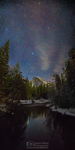 """On a Cold Winter's Night,"" Stars over Half Dome in the Winter, Yosemite Valley, Yosemite National Park, California"