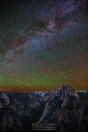 """""""The Stars Come Out to Play,"""" The Milky Way and Andromeda Galaxy over Half Dome, Quarter Domes, Basket Dome, Mount Watkins, Tenaya Peak, Cloud's Rest, Ahwiyah Point, Tressider Peak, and Tenaya Canyon, Yosemite National Park"""