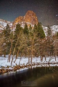 """Winter Magic,"" Sentinel Dome and the Merced River at night, Yosemite National Park, California"
