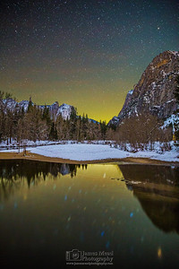 """Silence,"" The night sky over the Merced River and snow covered Yosemite Valley, Yosemite National Park, California"
