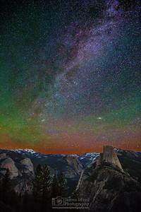"""Cosmic Domes,"" The Milky Way and Andromeda Galaxy over Half Dome, Quarter Domes, Basket Dome, North Dome, Mount Watkins, Tenaya Peak, Cloud's Rest, Ahwiyah Point and Tressider Peak, Yosemite National Park"
