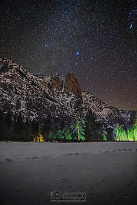 """Peaceful Elegance,"" Winter Milky Way spiral arm over Sentinel Rock and snow covered Yosemite Valley, Yosemite National Park, California"