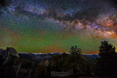 """Glimmering Skies,"" the Milky Way over Half Dome and Little Yosemite Valley, Yosemite National Park"