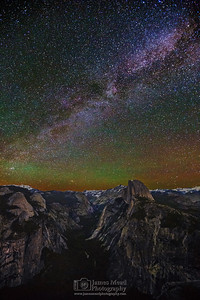 """Galaxies Above Yosemite,"" The Milky Way and Andromeda Galaxy over Half Dome, Quarter Domes, Basket Dome, North Dome, Mount Watkins, Tenaya Peak, Cloud's Rest, Ahwiyah Point, Tressider Peak, and Tenaya Canyon, Yosemite National Park"
