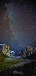 """From Valley to Sky,"" The Milky Way Spiral Arm and the Andromeda Galaxy over Yosemite Valley, Yosemite National Park"