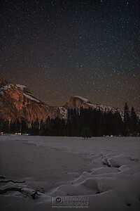 """Winter Stillness,"" Night sky over Half Dome and snow covered Yosemite Valley, Yosemite National Park, California"