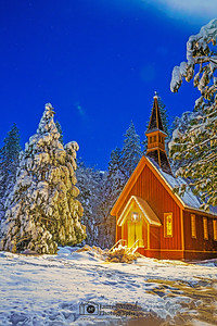 """Cold Winter's Night,"" Snow covered Yosemite Valley Chapel at Night, Yosemite National Park, California"