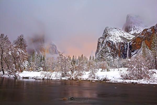 """Winter's Breath,"" El Capitan, Cathedral Rocks, the Merced River and Bridalveil Fall at night during Moonrise, Yosemite Valley, Yosemite National Park, California"