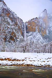 """Snow Bride,"" Bridalveil Fall, the Merced River and the Leaning Tower at Night, Yosemite National Park, California"