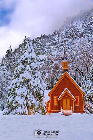 """Peaceful Silence,"" Snow covered Yosemite Valley Chapel at Night, Yosemite National Park, California"