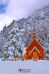 """Peaceful Silence,"" Snow covered Yosemite Valley Chapel at Night, Yosemite National Park, California"
