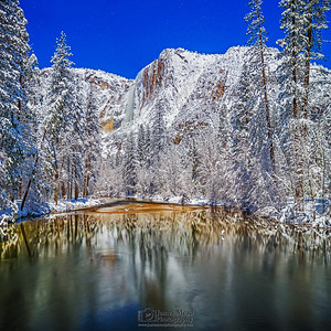 """Winter Oasis,"" Yosemite Falls and the Merced River by Moonlight, Yosemite National Park, California"