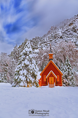 """""""Jewel of the Valley,"""" Snow covered Yosemite Valley Chapel at Night, Yosemite National Park, California"""