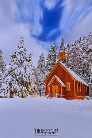 """Winter's Gift,"" Snow covered Yosemite Valley Chapel at Night, Yosemite National Park, California"