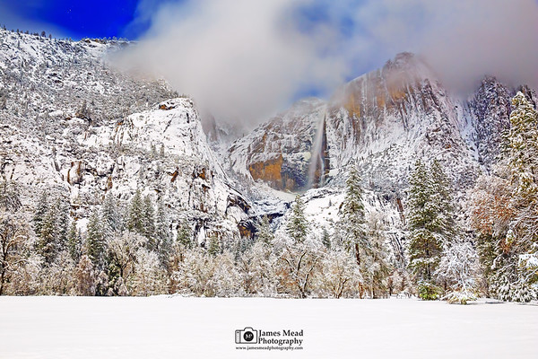 """""""Snowy Paradise,"""" Clouds at night over a moonlit Yosemite Falls and Cooks Meadow, Yosemite Valley, California"""