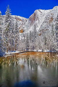 """Frozen Glow,"" Yosemite Falls and the Merced River by Moonlight, Yosemite National Park, California"