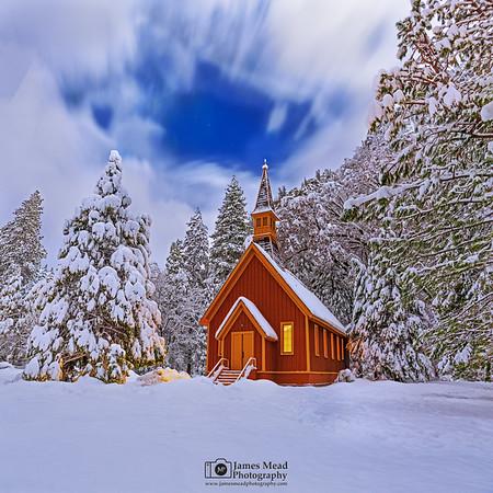 """Midnight Dreams,"" Snow covered Yosemite Valley Chapel at Night, Yosemite National Park, California"