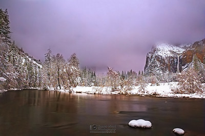"""Veiled Paradise,"" Alpenglow and fog over Cathedral Rocks, the Merced River and Bridalveil Fall during Moonrise, Yosemite Valley, Yosemite National Park,California"