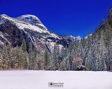 """Frozen Moonlight,"" Moonlight over North Dome, Stoneman Meadow and Yosemite Valley, Yosemite National Park, California"
