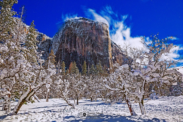 """""""Winter's Rule,"""" El Capitan and snow covered Bridalveil Meadow by Moonlight, Yosemite National Park, California"""