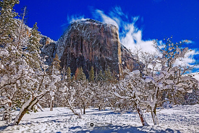 """Winter's Rule,"" El Capitan and snow covered Bridalveil Meadow by Moonlight, Yosemite National Park, California"