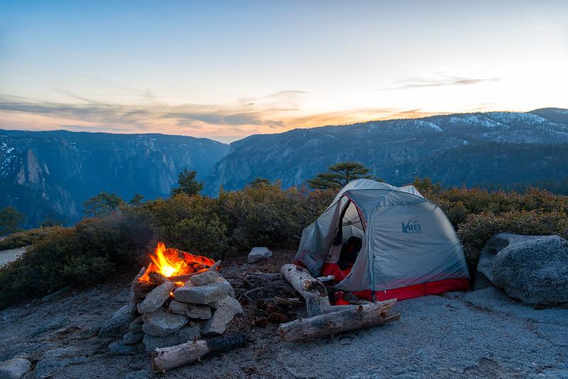 Campsite near North Dome - Yosemite