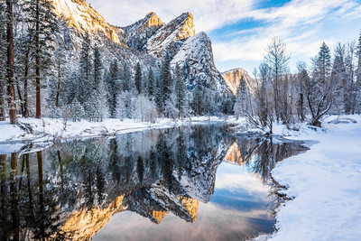 Three Brothers Reflected in Winter, Yosemite Valley