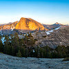 Half Dome and North Dome Sunset Panorama - Yosemite