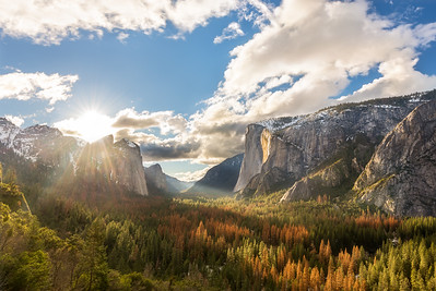 Yosemite valley sunset shadows