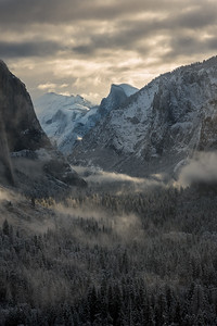 After snow storm sunrise from Tunnel View, Yosemite National Park