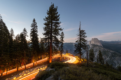 Car trails and Half Dome, Glacier Point Yosemite National Park