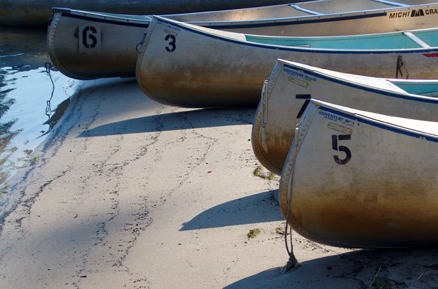 Canoes at a private resort in Sequoia NP, CA