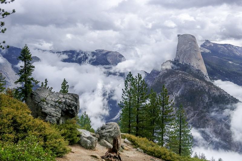 I finished my trip to Yosemite here on Glacier Point Road watching the many variations of clouds moving/forming thru the valley. It was hard to leave, but I had a long trip to San Diego looming. I said a reluctant goodbye to my 2 new friends from New Zealand and I ripped myself away at 11 AM.