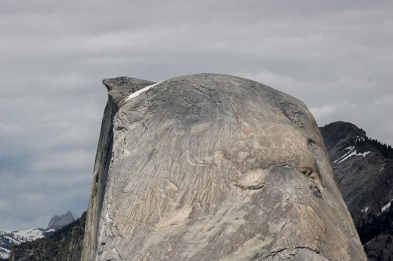 "The tiny black whiskers on the top of Half Dome are people who have successfully made the ""marathon of hikes"", the 14 mile adventure from the valley to the top of the dome that covers 3800 vertical feet."