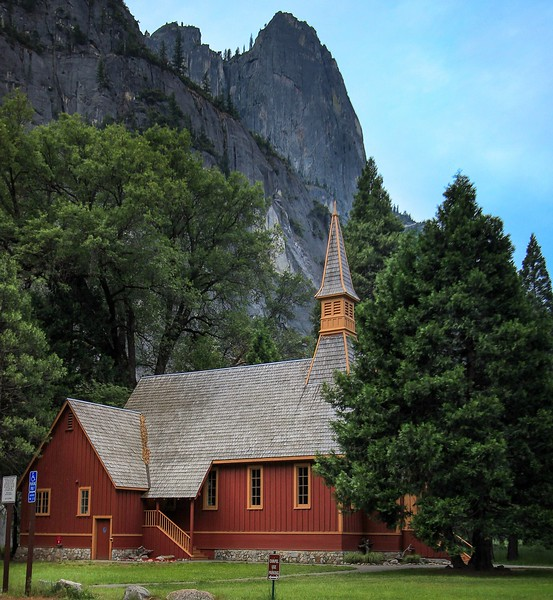 Yosemite Chapel. In 1980 you had a clear (and spectacular) view of this building from across the valley with the mountain right behind it. Now it is shrouded by tall trees that were not there at all before.