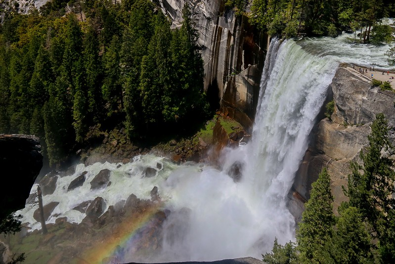 Rainbow from Vernal Falls spray. I was no where near in shape for this hike (2150 feet elevation gain and 6 miles total from where I started in Half Dome Village). I took a few days to recover, but what a view!