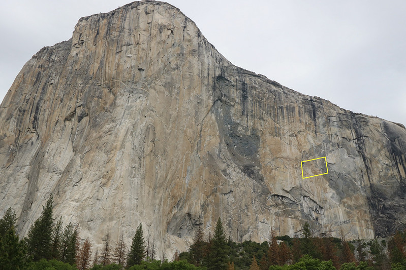 El Capitan on a cloudy day. The next photo shows climbers in the yellow box, distorted here by the wide angle lens. El Capitan is so big most visitors can't see climbers on it unless they stop and really study it, preferably with a visual aid.