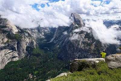 Half Dome was complimented by various shapes of clouds all Friday morning, June 9th 2017. Clouds began to thin out some when I Ieft the Park at 11 AM.